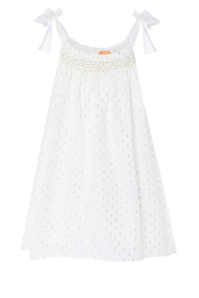 Kız Çocuk Altın Rengi Noktalı Elbise S7521