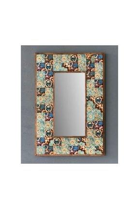 Oscar Stone Decor Taş Mozaik Ayna 43 X 63 Cm Mavi Yaprak Desenli Dresuar Üstü 0