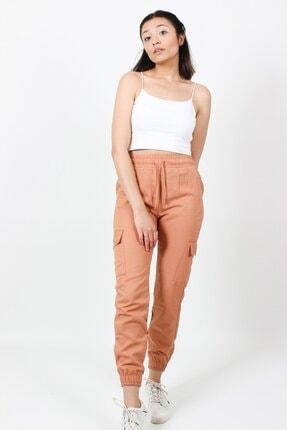AlpinTeks Kadın Somon Beli Lastikli Keten Kargo Pantolon 0