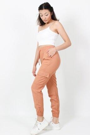 AlpinTeks Kadın Somon Beli Lastikli Keten Kargo Pantolon 1