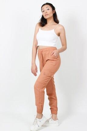 AlpinTeks Kadın Somon Beli Lastikli Keten Kargo Pantolon 2