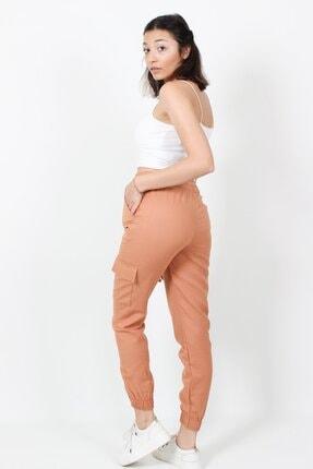 AlpinTeks Kadın Somon Beli Lastikli Keten Kargo Pantolon 3