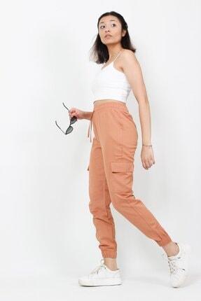AlpinTeks Kadın Somon Beli Lastikli Keten Kargo Pantolon 4