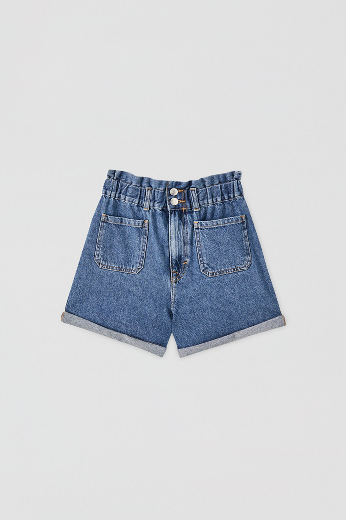 Pull & Bear Kadın Mavi Elastik Belli Denim Bermuda 05692303 0