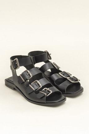 Elle Hakiki Deri Rahel Siyah Kadın  Sandalet 20YEK3143754 1