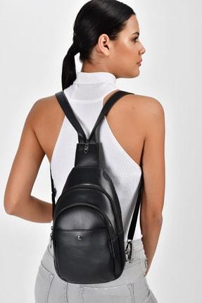 Bagzone Siyah Kadın  Trok Detaylı İki Bölmeli Bel Çantası 10RZ3006 2