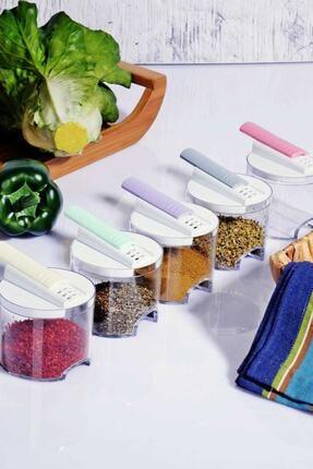 Kitchen Life Akrilik Renkli Geçmeli 5'Li Bremen Baharatlık Seti 3