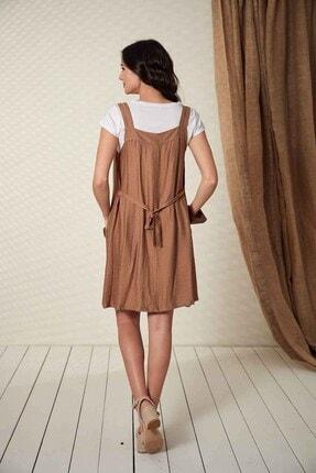 Görsin Hamile Kadın Düğme Detaylı Askılı  Vizon Hamile Elbise 3