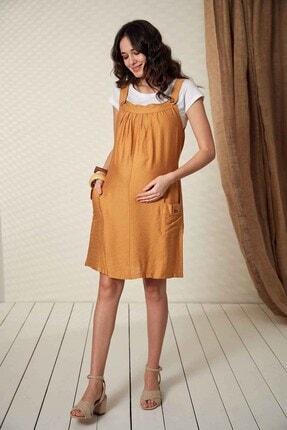 Görsin Hamile Kadın Düğme Detaylı Askılı Hardal Hamile Elbise 1