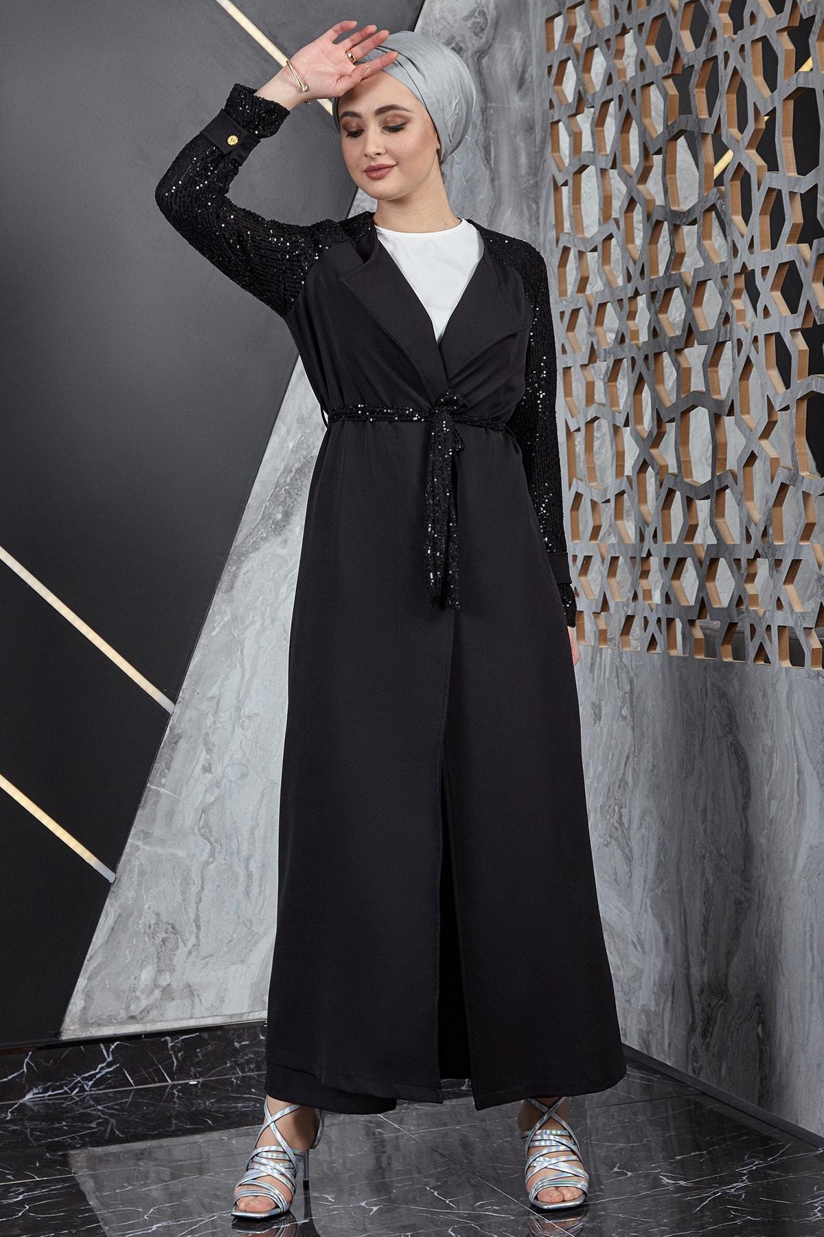 Kadın Pul Payetli Siyah Üçlü Takım 2143-01