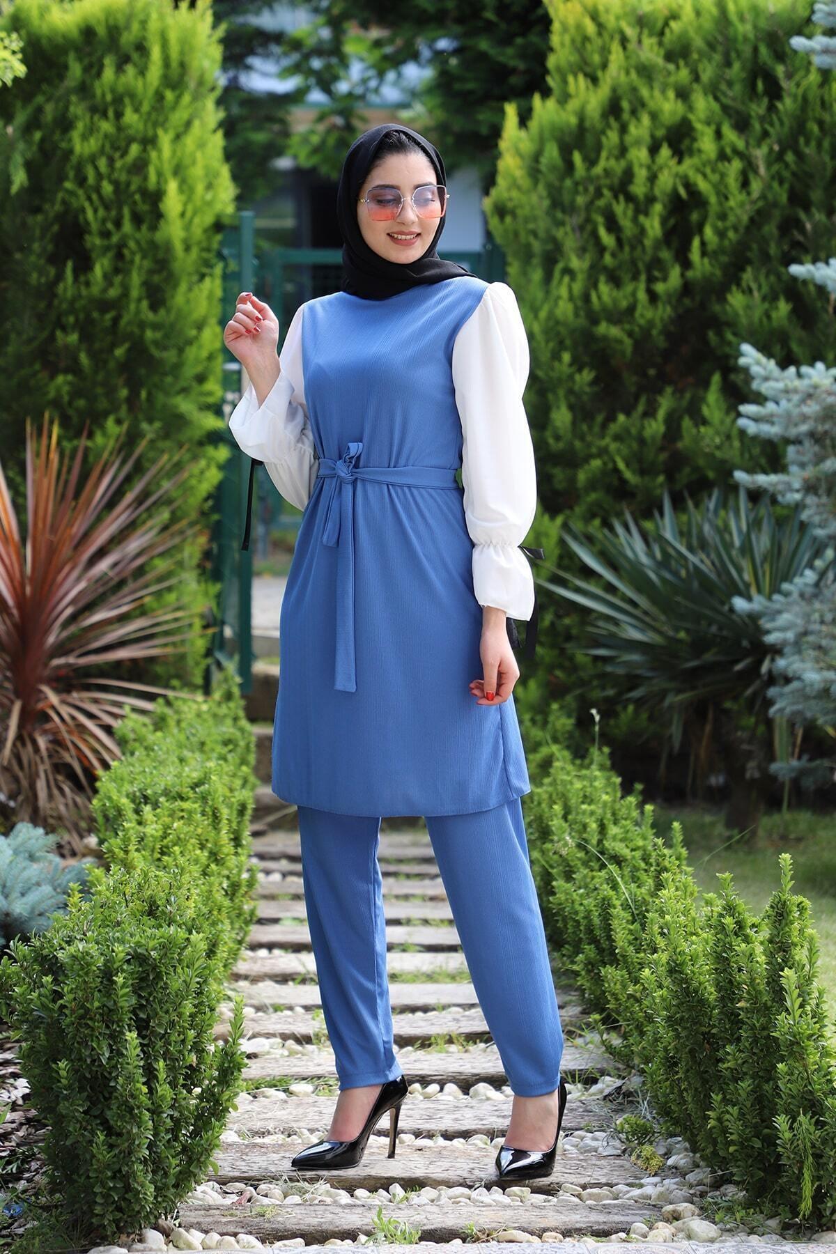 Kadın Mavi İkili Tunik Takım 4001-70