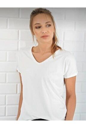 BLACK Kadın Ekru V Yaka Basic T-shirt 1