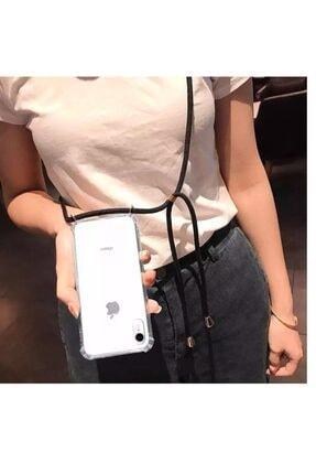 Xiaomi Mi 9 Şeffaf Boyun Askılı Beyaz (siyah Şeritli)kılıf 4