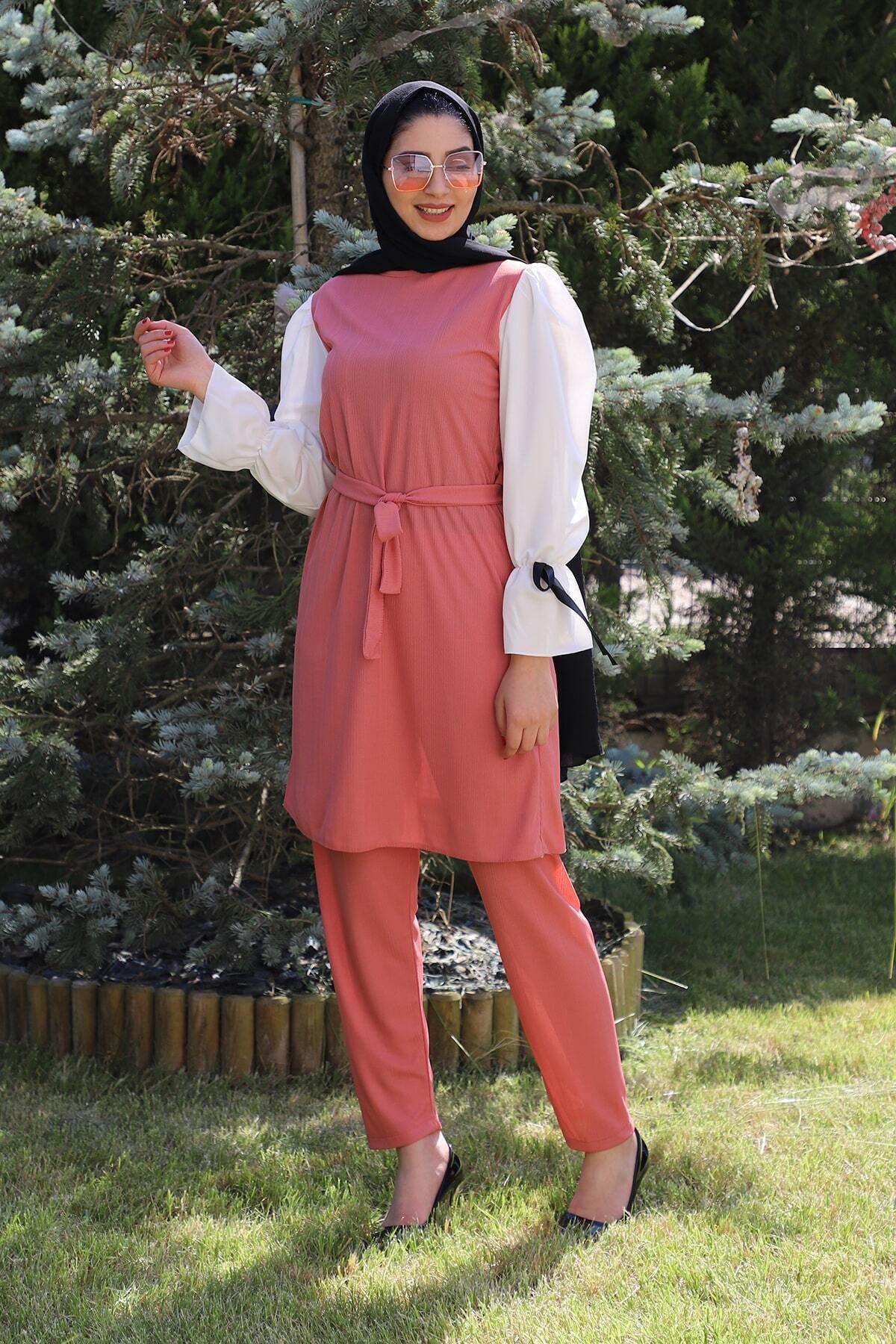 Kadın Pudra Ikili Tunik Takım 4001-41
