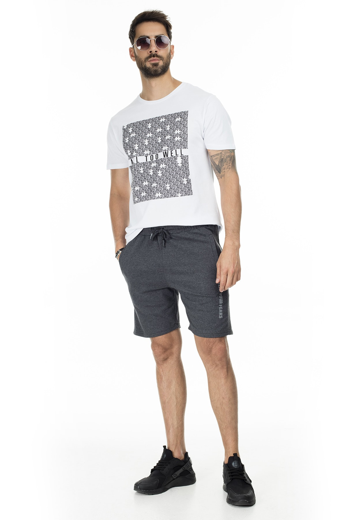 Buratti Erkek Siyah Elestan Cep Belden Bağlama Günlük Spor Slim Fit Short 568R165 0