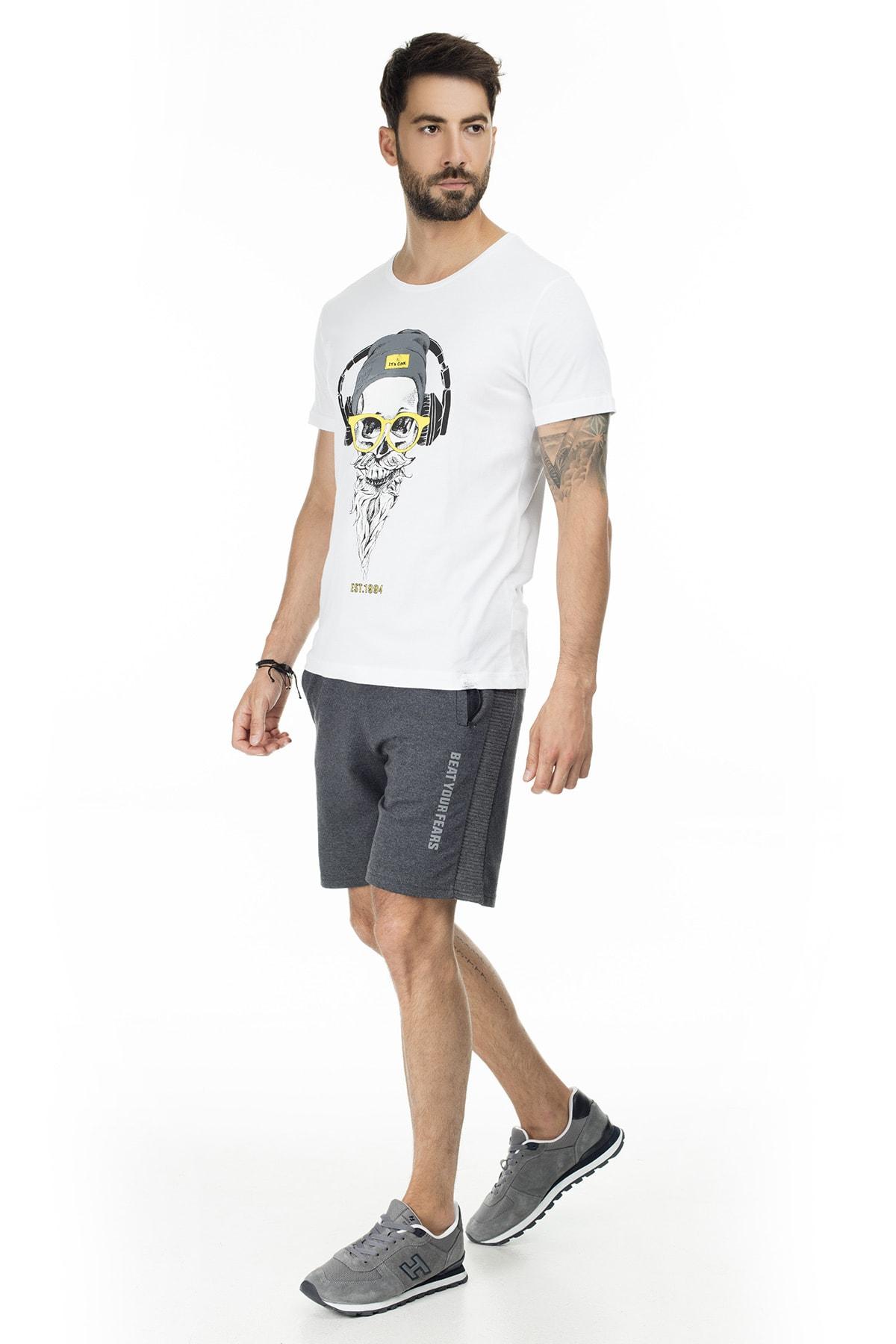 Buratti Erkek Siyah Elestan Cep Belden Bağlama Günlük Spor Slim Fit Short 568R165 4