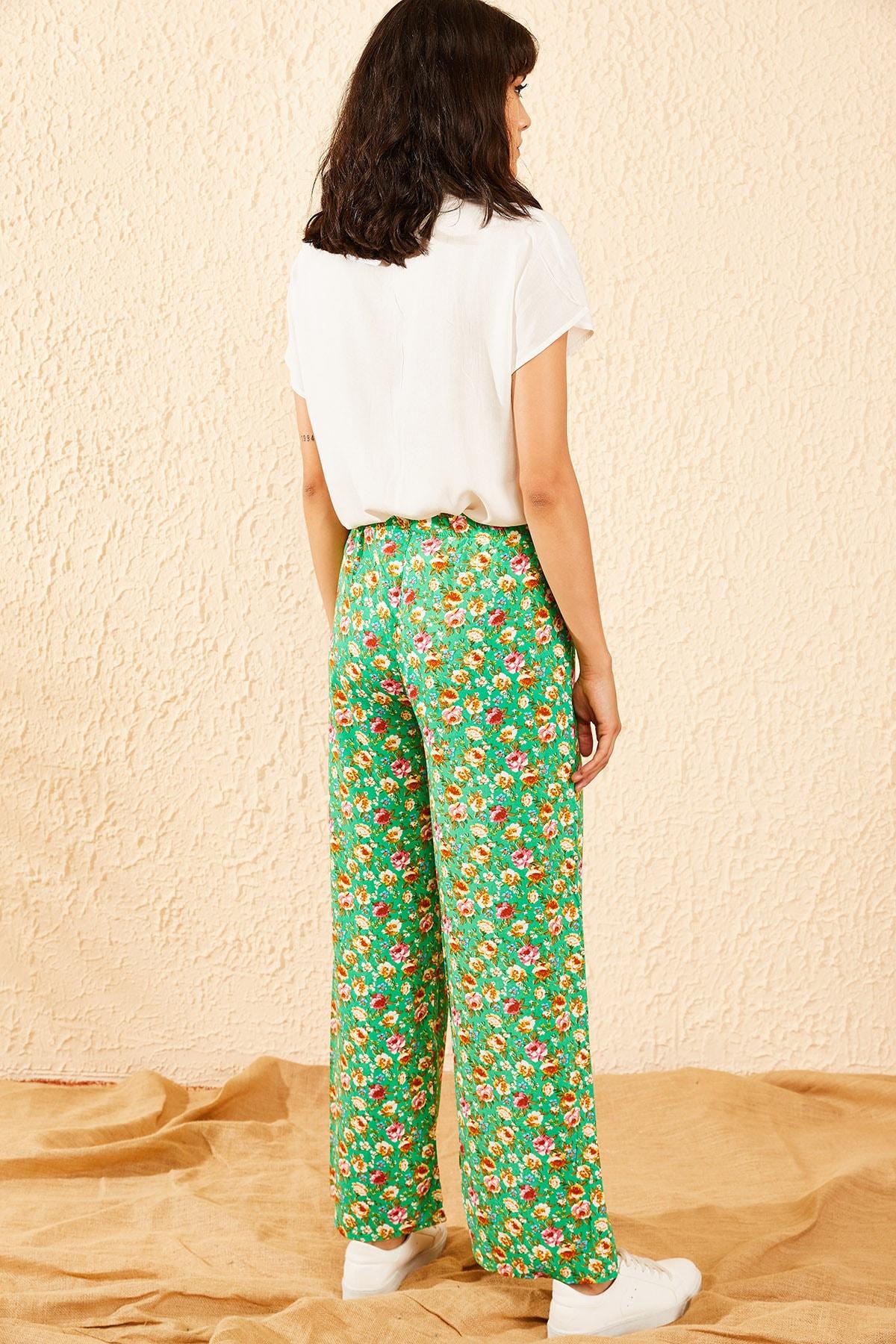 Bianco Lucci Kadın Yeşil Çiçek Desenli Beli Lastikli Bol Paça Pantolon 10081051 3