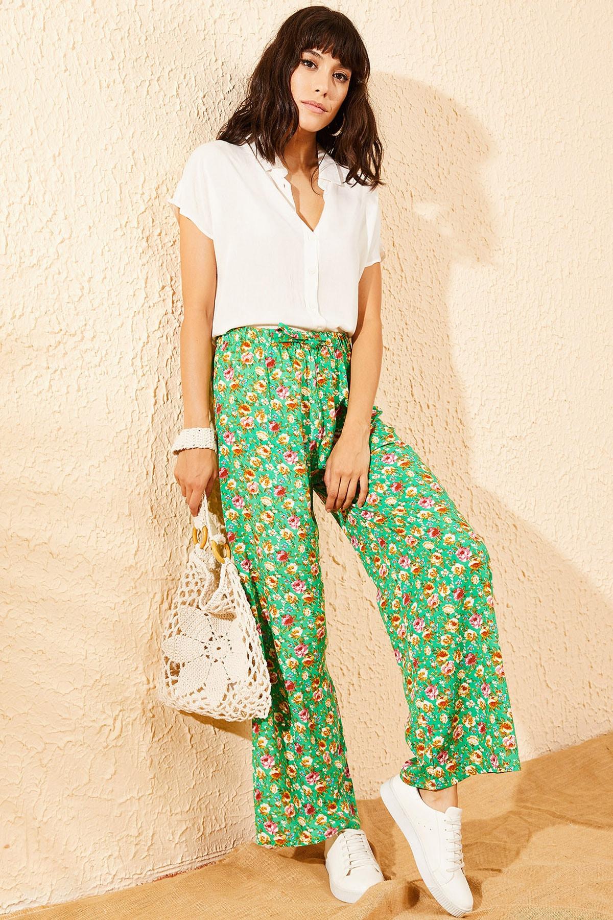 Bianco Lucci Kadın Yeşil Çiçek Desenli Beli Lastikli Bol Paça Pantolon 10081051 0