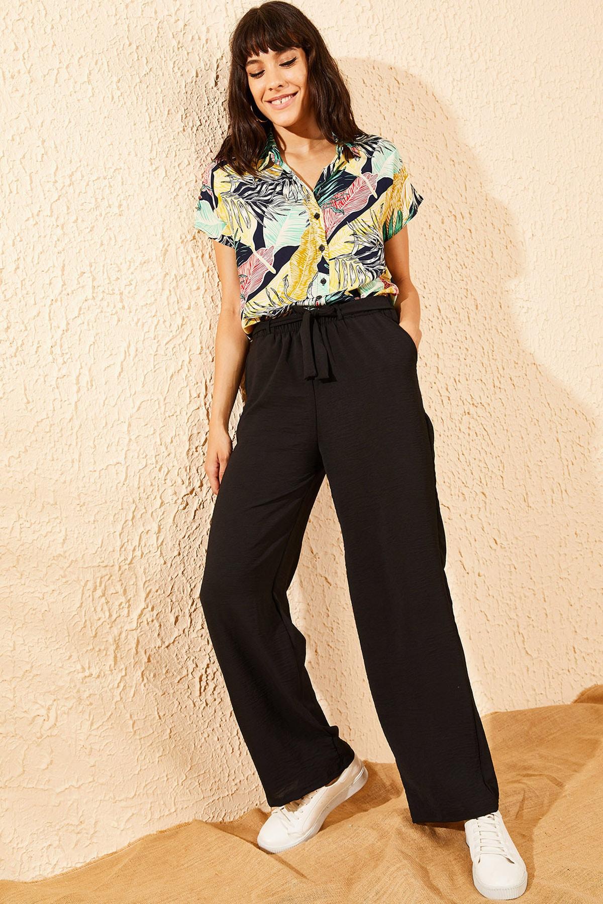 Bianco Lucci Kadın Siyah Beli Lastikli Kuşaklı Cepli Rahat Pantolon 10081038 2