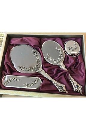 Lazer Avm Sarmaşık Gümüş Ayna Tarak Takımı Bohça Çeyiz Seti 0