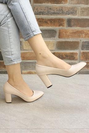 Denizin Çantaları Kadın Krem Topuklu Ayakkabı 1