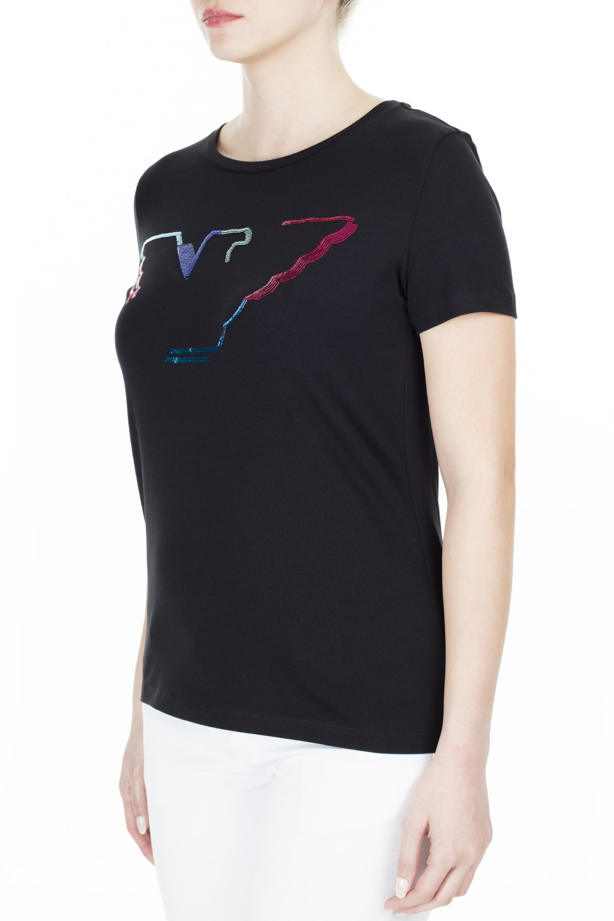 Emporio Armani Kadın Siyah T-Shirt 3H2T6C 2Jqaz 0999 2