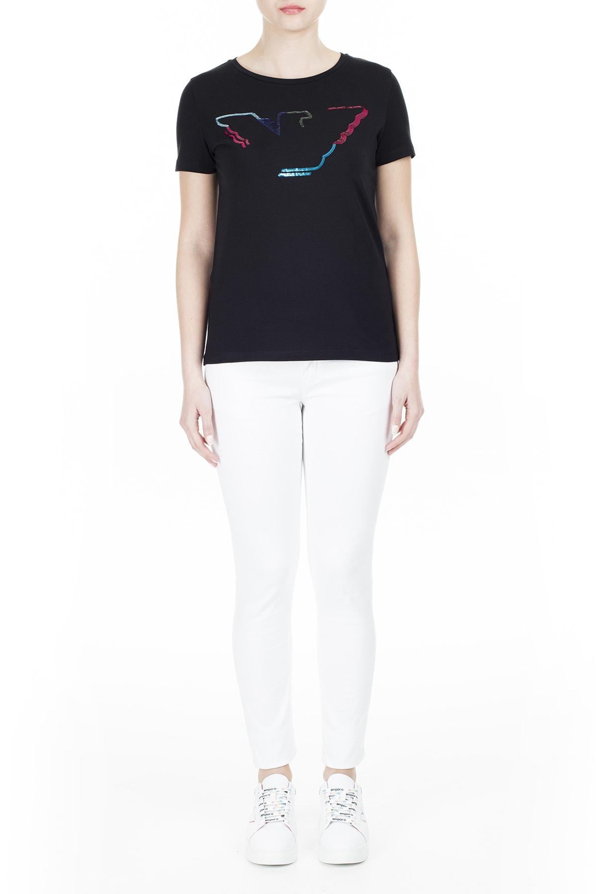 Emporio Armani Kadın Siyah T-Shirt 3H2T6C 2Jqaz 0999 4