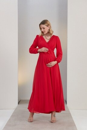 Görsin Hamile Gör&sin Kuşak Detaylı Hamile Mercan Elbise 1