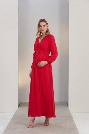 Görsin Hamile Gör&sin Kuşak Detaylı Hamile Mercan Elbise 2