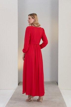 Görsin Hamile Gör&sin Kuşak Detaylı Hamile Mercan Elbise 4