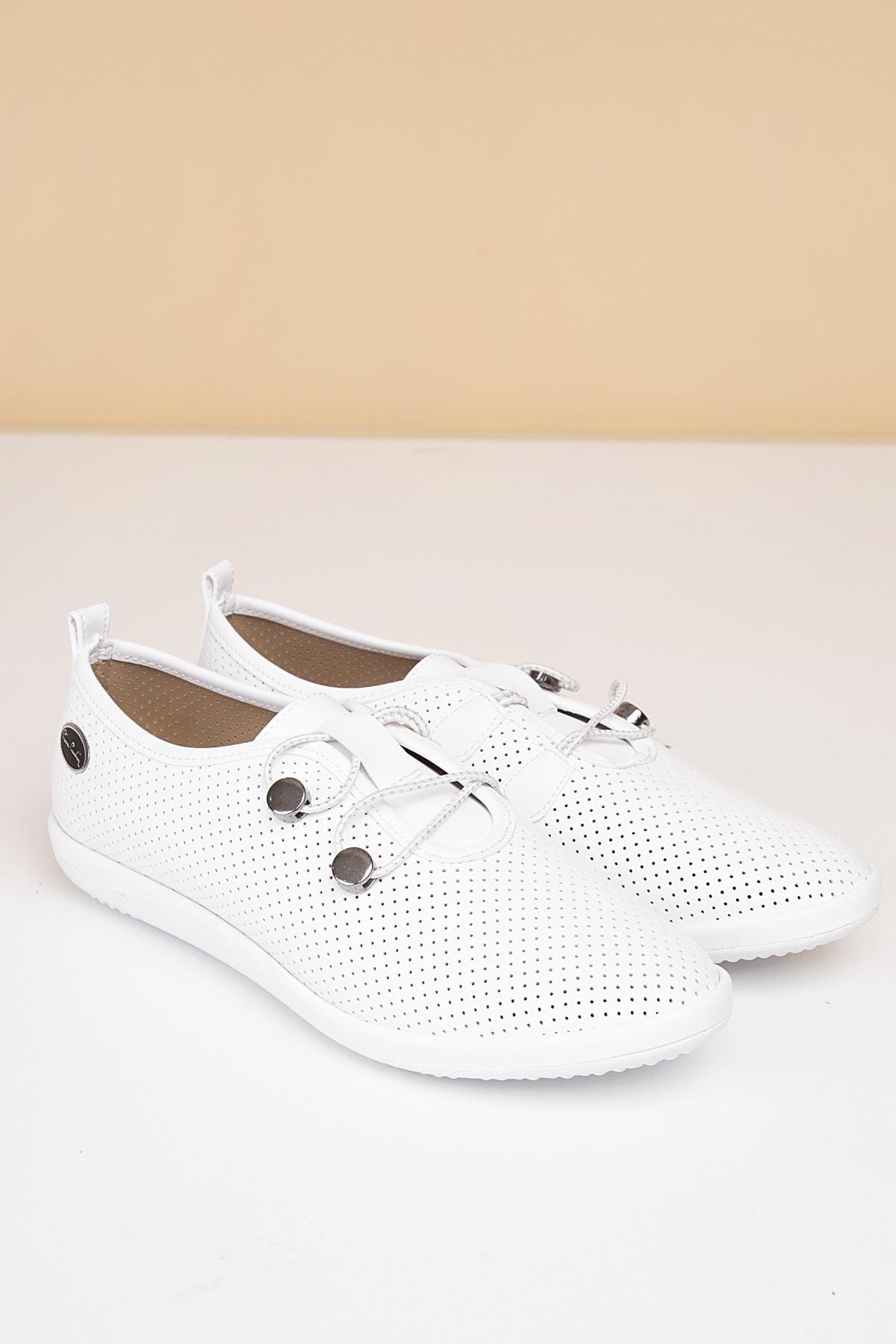 Pierre Cardin 19-Beyaz Kadın Klasik Ayakkabı