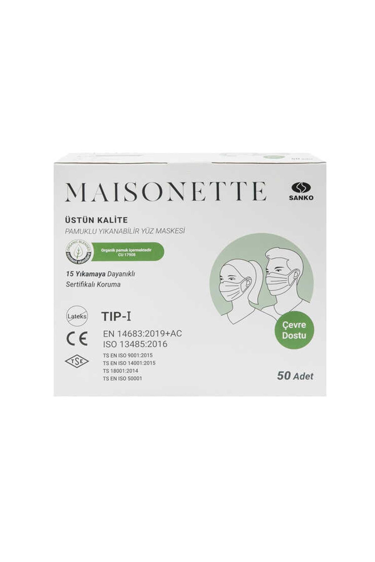 Maisonette Yıkanabilir Pamuklu Yüz Maskesi 50 li Paket 0