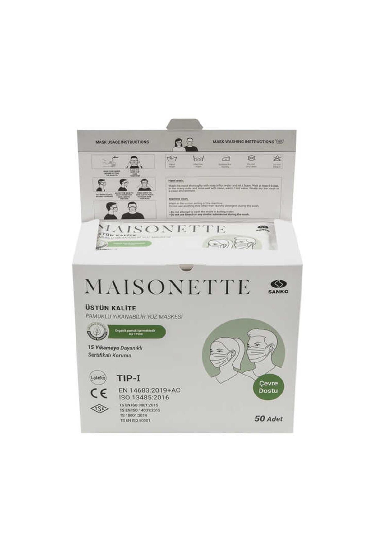Maisonette Yıkanabilir Pamuklu Yüz Maskesi 50 li Paket 1