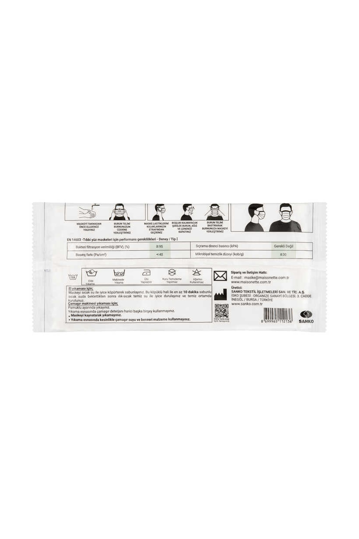 Maisonette Yıkanabilir Pamuklu Yüz Maskesi 50 li Paket 4