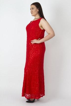 Şans Kadın Kırmızı Payet Detaylı Astarlı Dantel Elbise 65N16781 1
