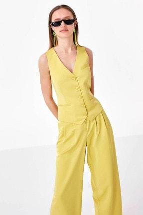 Twist Kadın Sarı Düğme Kapama Yelek TS1200007014009 2