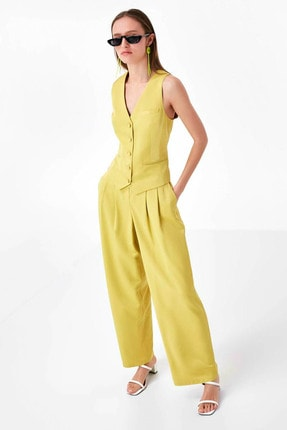 Twist Kadın Sarı Düğme Kapama Yelek TS1200007014009 4