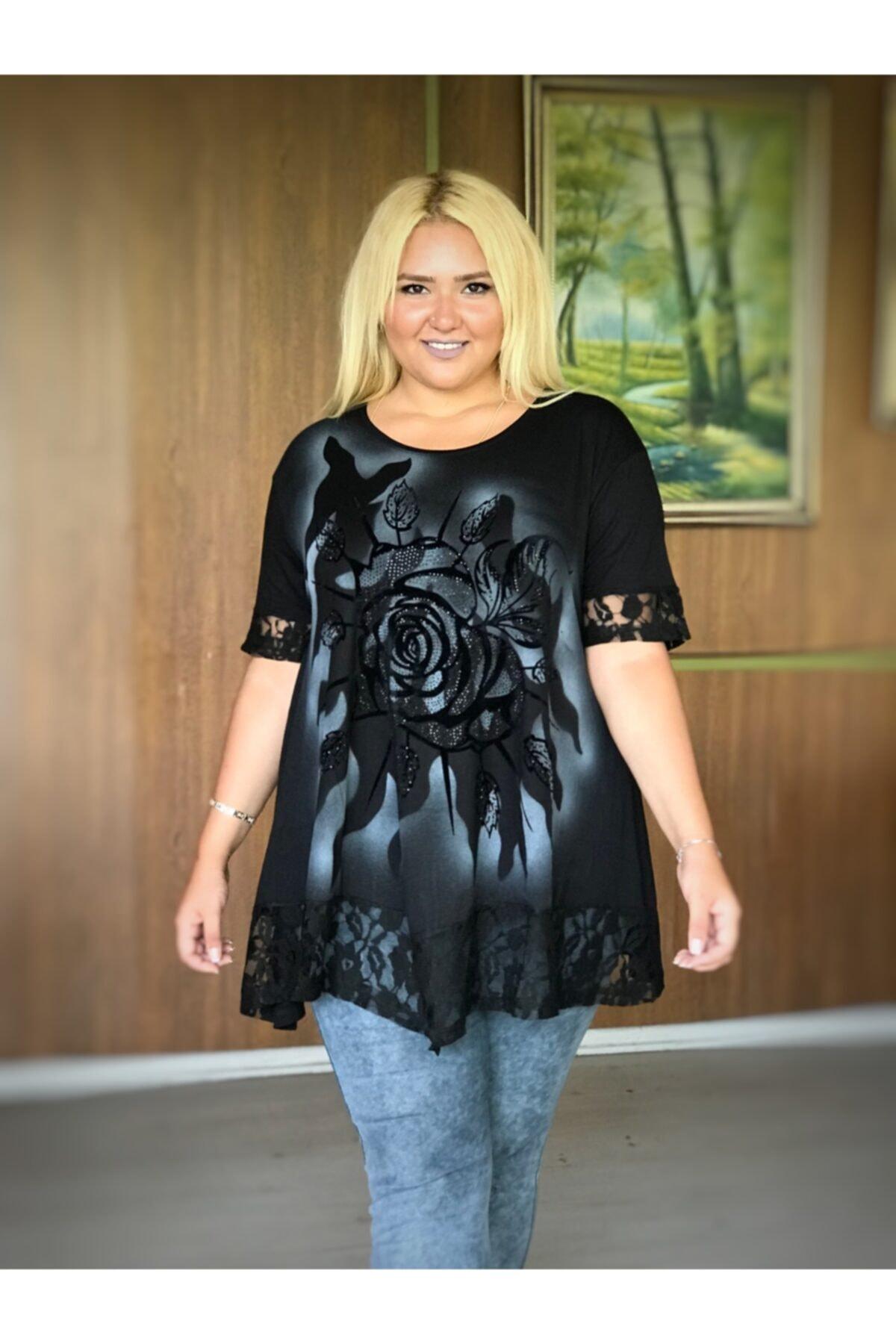 Kadın Siyah Büyük Beden Dantel Ve Taş Detay Lı Viskon Tunik