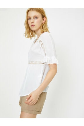 Koton Kadın Beyaz Dantel Detayli Bluz 9YAL68294IW 1