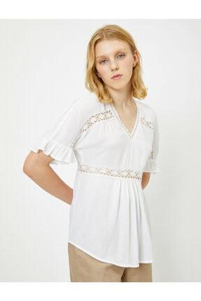 Koton Kadın Beyaz Dantel Detayli Bluz 9YAL68294IW 2
