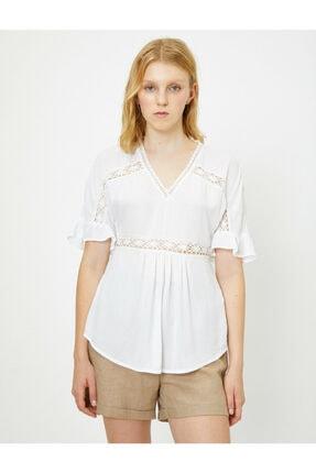 Koton Kadın Beyaz Dantel Detayli Bluz 9YAL68294IW 4