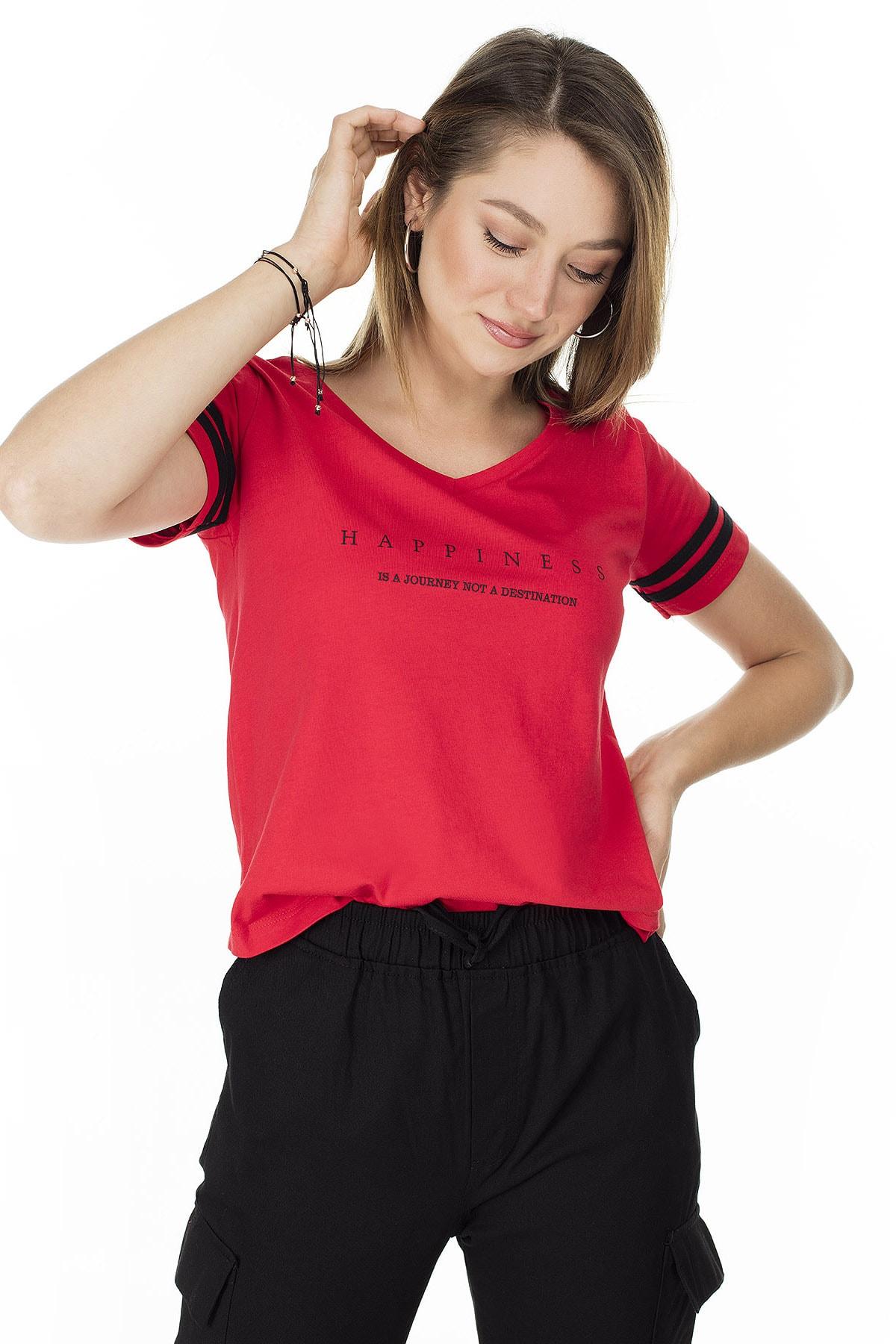 Lela Baskılı V Yaka T Shirt KADIN T SHİRT 5411037 2