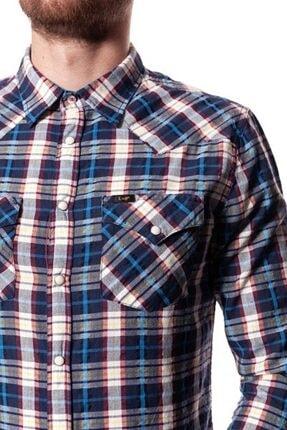 Lee Wrangler Erkek Mavi Kareli Western Slım Fıt Gömlek 1