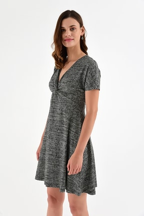 Laranor Kadın Desen-3 Yaka Detay Desenli  Elbise 18L6315 2