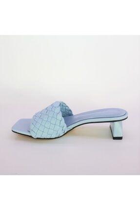 Miss Bella Kadın Mavi Örgülü Bantlı Kısa Topuklu Sandalet Terlik 2