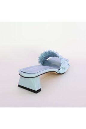 Miss Bella Kadın Mavi Örgülü Bantlı Kısa Topuklu Sandalet Terlik 3