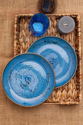 Tulü Porselen Antik 93 Mavi 6 Adet 19 cm Pasta Tabağı Takımı 1