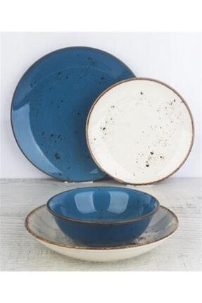 Tulü Porselen Antik 93 Mavi 6 Adet 19 cm Pasta Tabağı Takımı 2