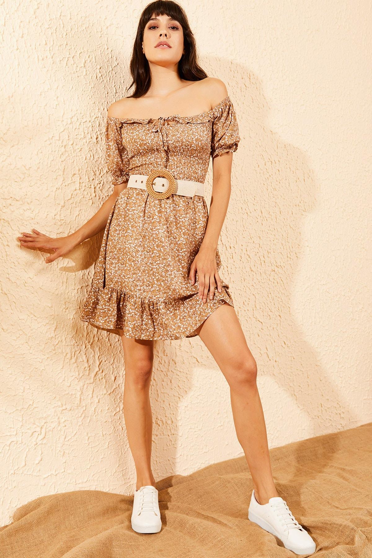 Kadın Camel Gipeli İp Askılı Küçük Çiçek Desenli Elbise 10091046