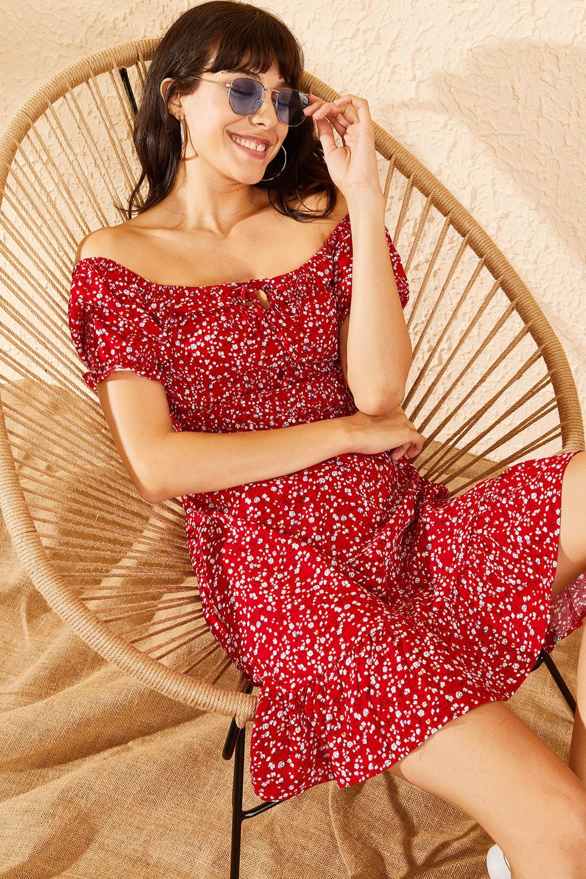 Bianco Lucci Kadın Kırmızı Gipeli İp Askılı Küçük Çiçek Desenli Elbise 10091046 1